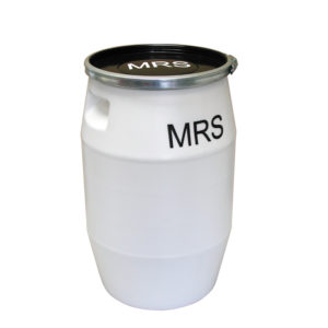 Fût MRS 50 L + genouillère métal + couvercle – blanc