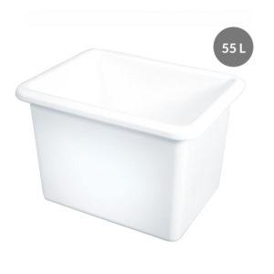 Bac rectangulaire renforcé emboîtable 55 L – blanc