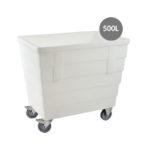 Bac double-paroi 500 L – roues chape inox – blanc