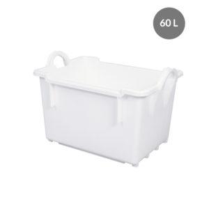 Bac renforcé rectangulaire empilable emboîtable 60 L – blanc