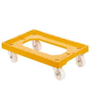 Socle rouleur 4 roues pivotantes – chape acier – jaune