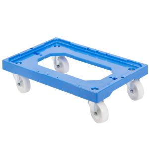 Socle rouleur 4 roues pivotantes – chape acier – bleu