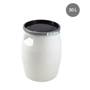 Fût 30 L + genouillère métal + couvercle – blanc