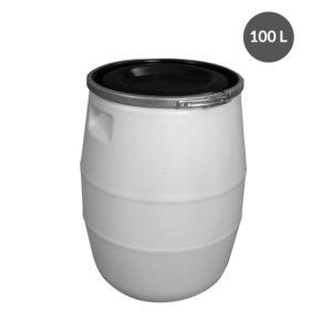 Fût 100 L + genouillère métal + couvercle – blanc
