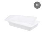 Bac plat 3 L blanc + couvercle + grille