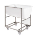Chariot inox pour bac grand volume semi-cylindrique 170 L