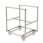 Chariot inox pour bac grand volume semi-cylindrique 220 L