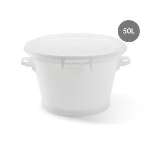 Baquet rond fond renforcé 50 L – blanc