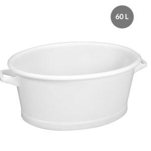 Baquet ovale fond renforcé 60 L – blanc