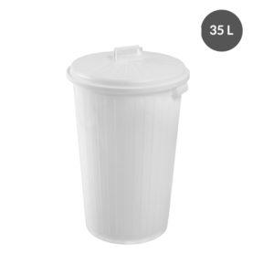Poubelle ronde 35 L + couvercle – blanc
