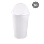 Poubelle ronde 35 L + couvercle basculant – blanc