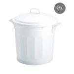 Couvercle avec poignée pour poubelle ronde tri sélectif 75 L – blanc