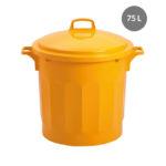 Couvercle avec poignée pour poubelle ronde tri sélectif 75 L – jaune