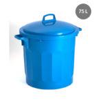 Couvercle avec poignée pour poubelle ronde tri sélectif 75 L – bleu