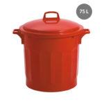 Couvercle avec poignée pour poubelle ronde tri sélectif 75 L – rouge