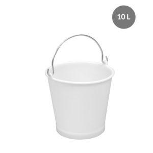 Seau rond alimentaire 10 L anse acier – blanc