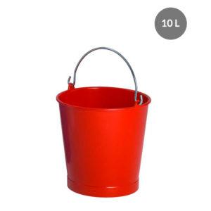 Seau rond alimentaire 10 L anse acier – rouge