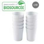 Gobelets 22 cl en matière biosourcée – lot de 10 – blanc